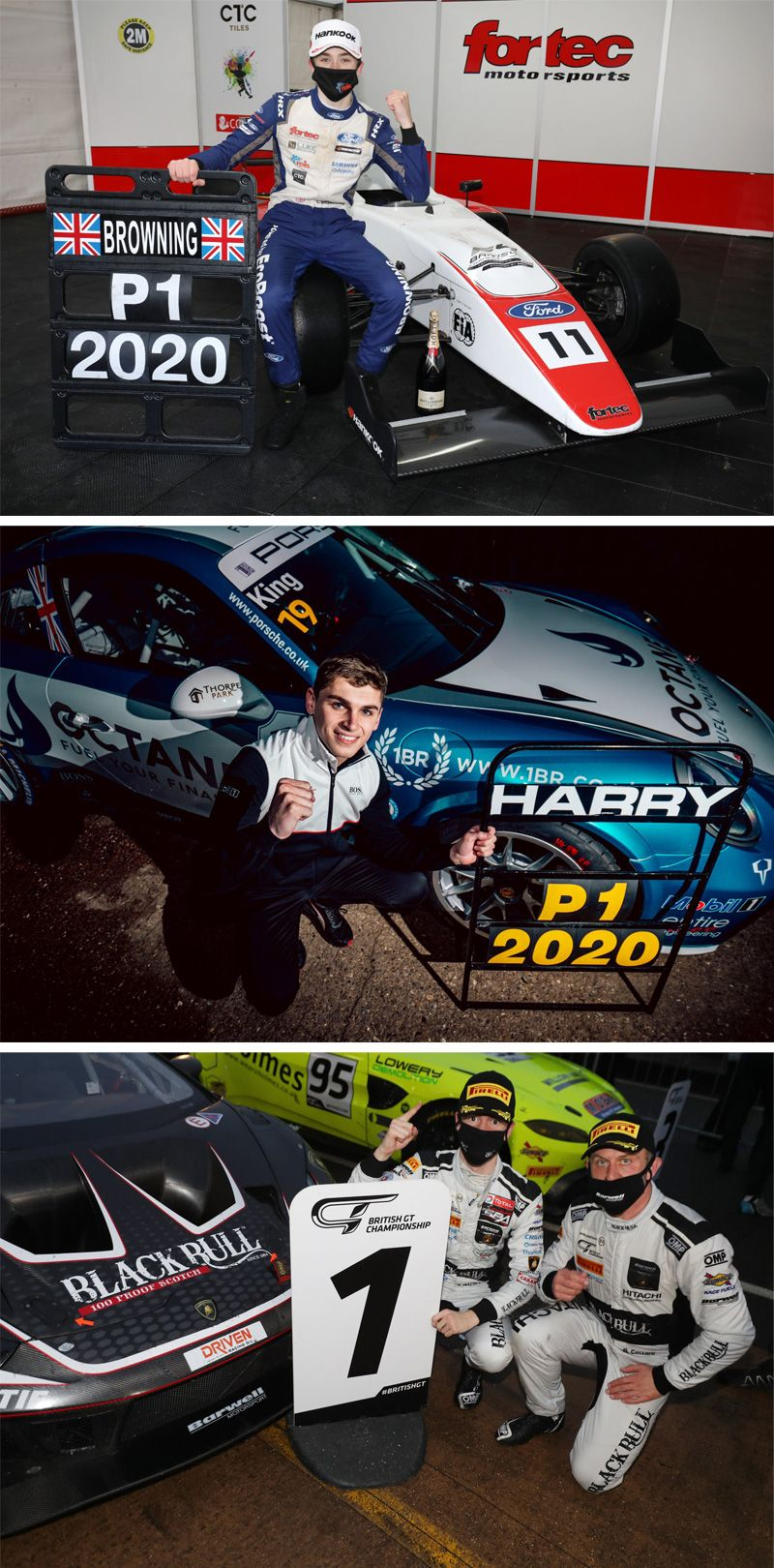 Pictured are Loughborough College Graduates - Luke Browning, Sandy Mitchell, Harry King standing next to their championship winning cars with a pit board sign marking number 1 in 2020